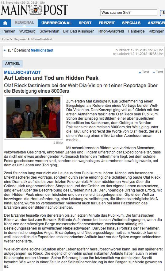Mellrichstadt Reportage Kritik 2012