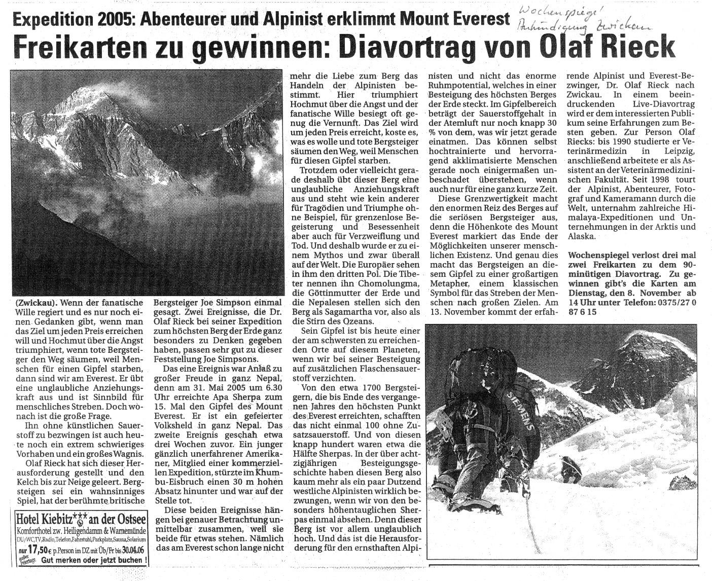 Wochenspiegel November 2005