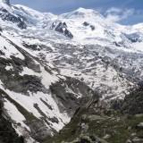 Bossesgletscher und der Dom du Goûter (Bildmitte oben) über dessen Nordgrat unsere Route verlief.