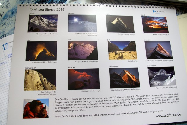 Jedesmal wenn ich den Kalender anschaue, dann wundere ich mich über die wirklich großartigen Berggestalten in der Cordillera Blanca in Peru. Es wird sicher nicht lange dauern bis ich wieder dort sein werde.